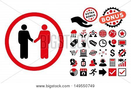 Persons Agreement pictograph with bonus symbols. Glyph illustration style is flat iconic bicolor symbols, intensive red and black colors, white background.