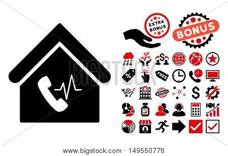 Phone Station Building pictograph with bonus elements. Glyph illustration style is flat iconic bicolor symbols, intensive red and black colors, white background.