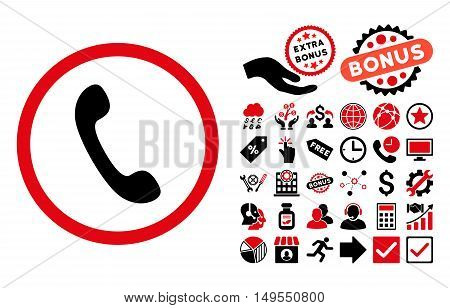Phone pictograph with bonus pictograph collection. Glyph illustration style is flat iconic bicolor symbols, intensive red and black colors, white background.