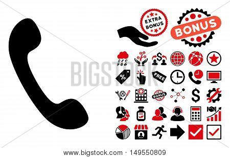 Phone icon with bonus icon set. Glyph illustration style is flat iconic bicolor symbols, intensive red and black colors, white background.