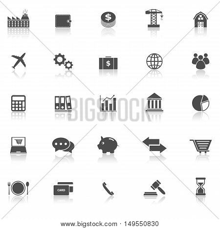 Economy icons with reflect on white background, stock vector