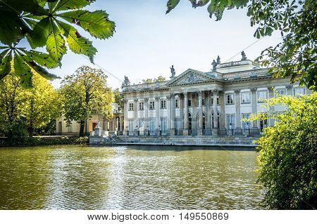 WARSAW POLAND - SEPTEMBER 27: Northern facade of the Lazienki Palace the Palace on the Water or the Palace on the Isle in Royal Baths Park Lazienki Park in Warsaw Poland on September 27 2016