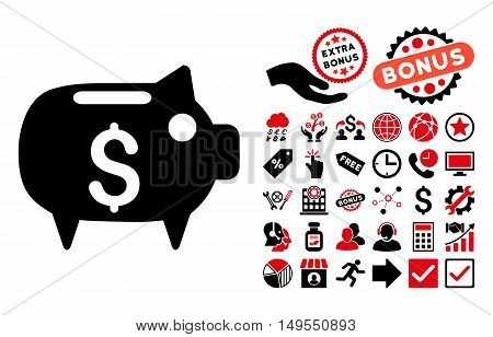Piggy Bank icon with bonus pictures. Glyph illustration style is flat iconic bicolor symbols, intensive red and black colors, white background.