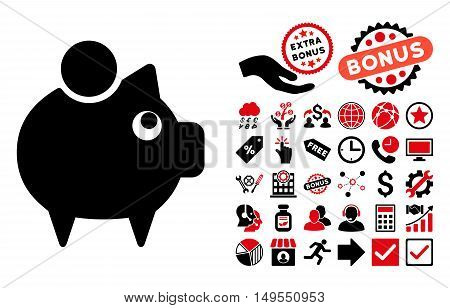 Piggy Bank icon with bonus icon set. Glyph illustration style is flat iconic bicolor symbols, intensive red and black colors, white background.