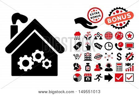 Plant Building icon with bonus pictograph collection. Glyph illustration style is flat iconic bicolor symbols, intensive red and black colors, white background.