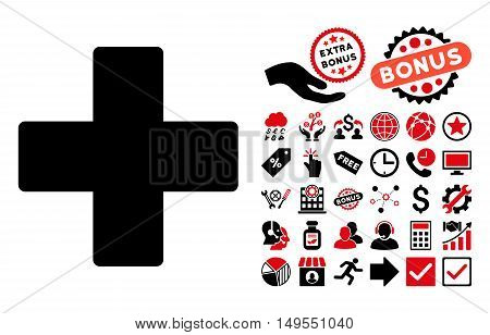 Plus pictograph with bonus pictures. Glyph illustration style is flat iconic bicolor symbols, intensive red and black colors, white background.