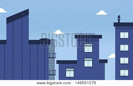 Illustration of city buildings flat style collection