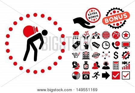 Porter icon with bonus pictogram. Glyph illustration style is flat iconic bicolor symbols, intensive red and black colors, white background.