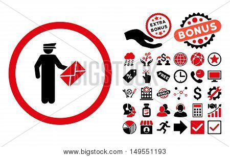 Postman pictograph with bonus elements. Glyph illustration style is flat iconic bicolor symbols, intensive red and black colors, white background.
