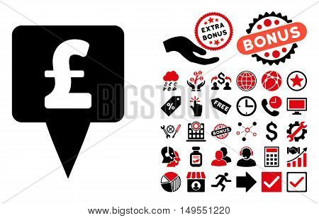 Pound Map Pointer pictograph with bonus icon set. Glyph illustration style is flat iconic bicolor symbols, intensive red and black colors, white background.