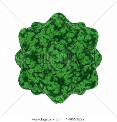 Green Virus Spore Isolated on Black Background - 3D Illustration