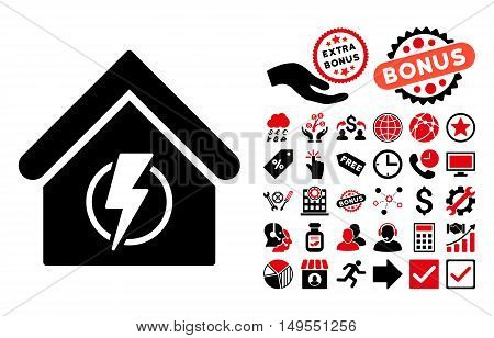 Power Supply Building icon with bonus pictures. Glyph illustration style is flat iconic bicolor symbols, intensive red and black colors, white background.