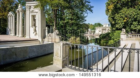 WARSAW, POLAND - SEPTEMBER 27: Lazienki Park or Royal Baths Park, view of the Lazienki Palace, the Palace on the Water in Warsaw, Poland on September 27, 2016