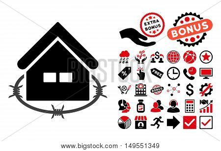 Prison Building pictograph with bonus clip art. Glyph illustration style is flat iconic bicolor symbols, intensive red and black colors, white background.