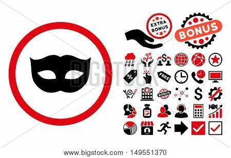 Privacy Mask icon with bonus symbols. Glyph illustration style is flat iconic bicolor symbols, intensive red and black colors, white background.