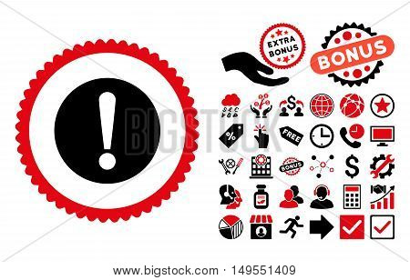 Problem icon with bonus pictures. Glyph illustration style is flat iconic bicolor symbols, intensive red and black colors, white background.