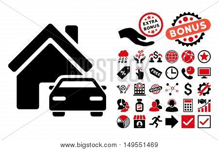 Property icon with bonus symbols. Glyph illustration style is flat iconic bicolor symbols, intensive red and black colors, white background.