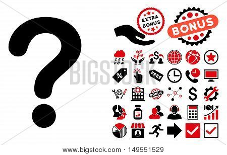Question icon with bonus images. Glyph illustration style is flat iconic bicolor symbols, intensive red and black colors, white background.