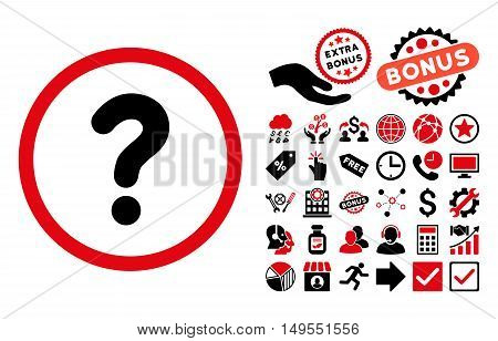 Question icon with bonus pictogram. Glyph illustration style is flat iconic bicolor symbols, intensive red and black colors, white background.