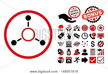 Radial Structure pictograph with bonus elements. Glyph illustration style is flat iconic bicolor symbols, intensive red and black colors, white background.