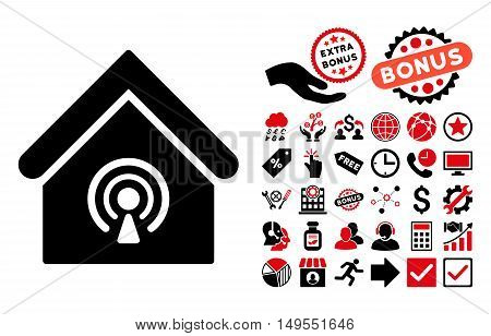 Radio Station pictograph with bonus design elements. Glyph illustration style is flat iconic bicolor symbols, intensive red and black colors, white background.
