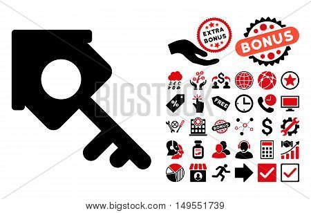 Realty Access pictograph with bonus pictures. Glyph illustration style is flat iconic bicolor symbols, intensive red and black colors, white background.