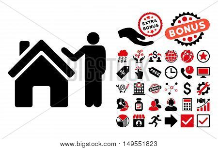Realty Buyer pictograph with bonus icon set. Glyph illustration style is flat iconic bicolor symbols, intensive red and black colors, white background.