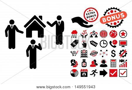 Realty Discuss Persons icon with bonus pictures. Glyph illustration style is flat iconic bicolor symbols, intensive red and black colors, white background.