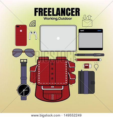 freelance Vector illustration element set work out.