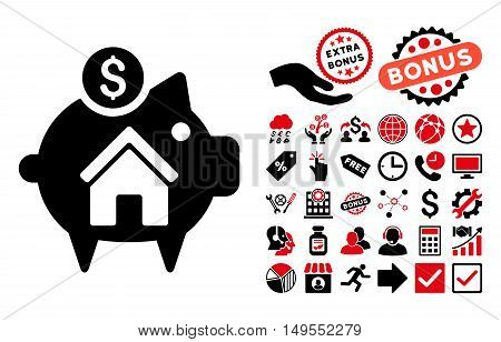 Realty Piggy Bank icon with bonus icon set. Glyph illustration style is flat iconic bicolor symbols, intensive red and black colors, white background.