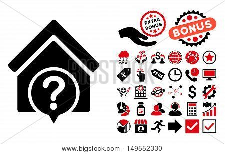 Realty State icon with bonus icon set. Glyph illustration style is flat iconic bicolor symbols, intensive red and black colors, white background.