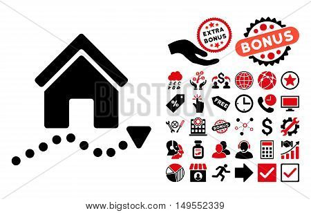 Realty Trend icon with bonus symbols. Glyph illustration style is flat iconic bicolor symbols, intensive red and black colors, white background.