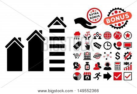 Realty Trend pictograph with bonus pictogram. Glyph illustration style is flat iconic bicolor symbols, intensive red and black colors, white background.