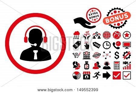 Reception Operator icon with bonus icon set. Glyph illustration style is flat iconic bicolor symbols, intensive red and black colors, white background.