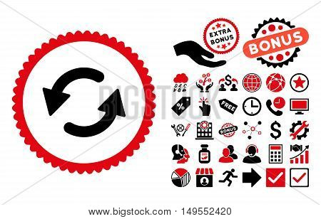 Refresh CCW icon with bonus design elements. Glyph illustration style is flat iconic bicolor symbols, intensive red and black colors, white background.