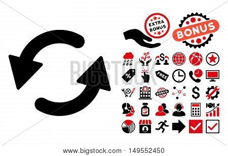 Refresh CCW pictograph with bonus pictogram. Glyph illustration style is flat iconic bicolor symbols, intensive red and black colors, white background.