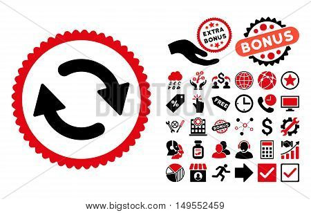 Refresh icon with bonus symbols. Glyph illustration style is flat iconic bicolor symbols, intensive red and black colors, white background.