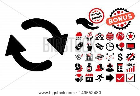 Refresh icon with bonus pictograph collection. Glyph illustration style is flat iconic bicolor symbols, intensive red and black colors, white background.
