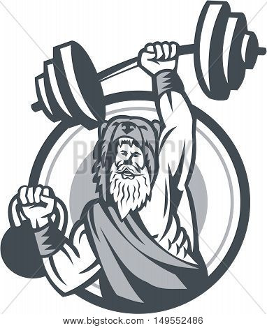 Illustration of a berserker a champion Norse warrior wearing pelt of bear skin lifting barbell and kettlebell viewed from front set inside circle on isolated background done in retro style.