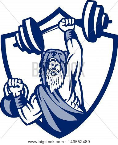 Illustration of a berserker a champion Norse warrior wearing pelt of bear skin lifting barbell and kettlebell viewed from front set inside shield crest on isolated background done in retro style.