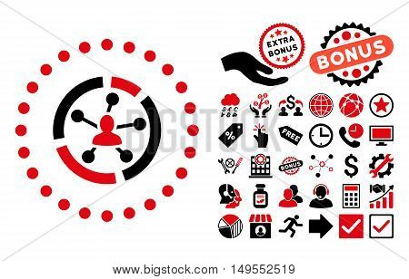 Relations Diagram icon with bonus pictogram. Glyph illustration style is flat iconic bicolor symbols, intensive red and black colors, white background.