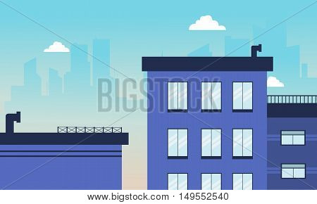 City building skyline of vector illustration collection