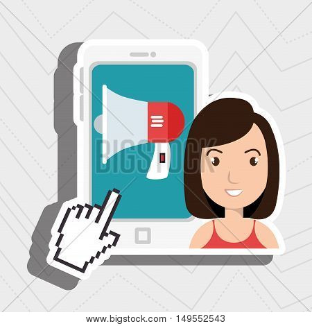 woman thinking creating bubble vector illustration eps 10