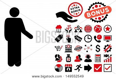 Relax Standing Pose pictograph with bonus design elements. Glyph illustration style is flat iconic bicolor symbols, intensive red and black colors, white background.