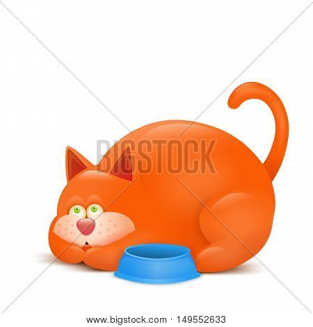 illustration of a hungry ginger cat asking for meal. Vector illustration