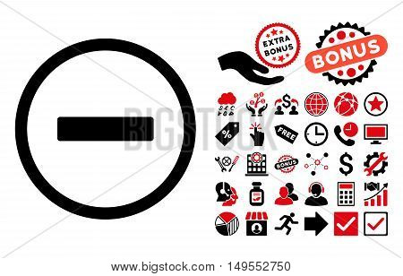 Remove pictograph with bonus symbols. Glyph illustration style is flat iconic bicolor symbols, intensive red and black colors, white background.