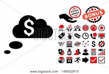 Richness Dream Clouds pictograph with bonus symbols. Glyph illustration style is flat iconic bicolor symbols, intensive red and black colors, white background.