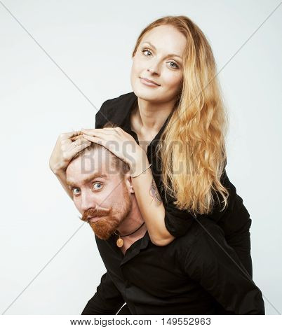 young tender couple, man and woman in love isolated on white, fooling around real modern hipster marriage, lifestyle people concept
