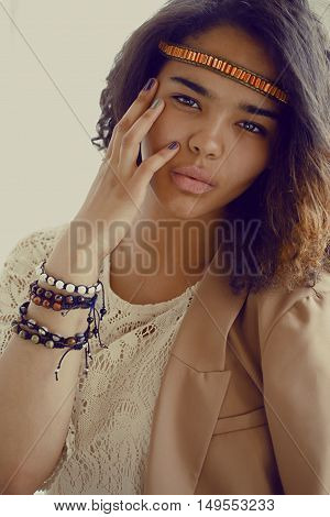 adorable black skined african teenage girl dressed like hipster hippie, vintage portrait, lifestyle people concept close up