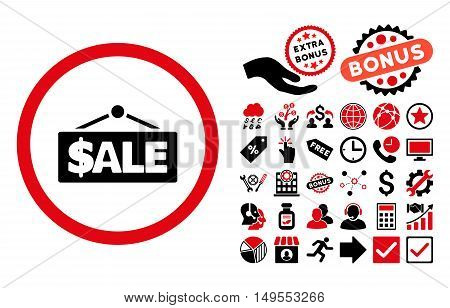 Sale Label icon with bonus design elements. Glyph illustration style is flat iconic bicolor symbols, intensive red and black colors, white background.